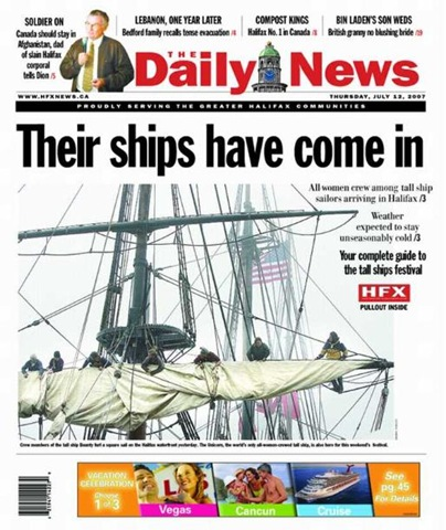 Halifax Daily News Fronpage 07 12 07