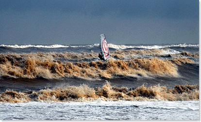 Mocha Sea with windsurfer Southwold