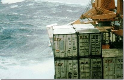 Cargo containers falling overboard