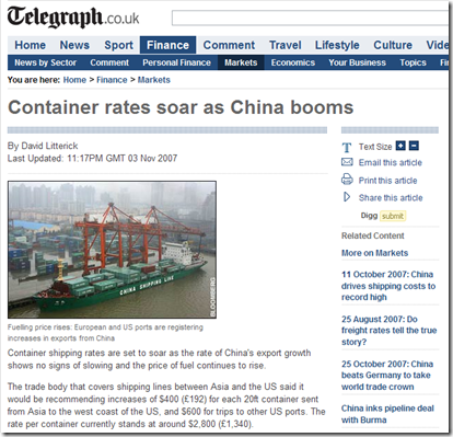 Container rates soar as China booms - Telegraph_1231948159272