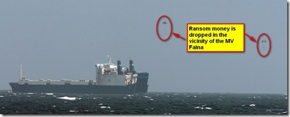 CLICK FOR HI-REZ - 090204-N-3931M-427 INDIAN OCEAN (Feb. 4, 2009) Ransom money is dropped in the vicinity of the MV Faina off the coast of Somalia near Hobyo while under observation by a U.S. Navy ship. Pirates did not actually leave the ship until Feb. 5, more than 24 hours after this photo was taken. The Belize-flagged cargo ship is operated by Kaalbye Shipping Ukraine and is carrying a cargo of Ukranian T-72 tanks and related equipment. The ship was attacked Sept. 25, 2008 by pirates and forced to proceed to anchorage off the Somali Coast. (U.S. Navy photo by Mass Communication Specialist 1st Class Michael R. McCormick/Released)