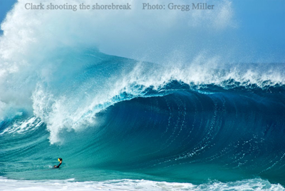 Clark shooting the shorebreak
