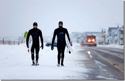 Winter Surfers by Nevins for Surfer Magazine