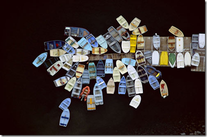 """Dinghies Clustered Around Dock"" by Alex MacClean"