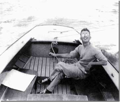 A youthful Phil Bolger ca 1949 enjoying a summer of deep draft sailing in an Alden Triangle sloop.