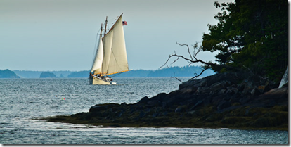 Schooner American Eagle entering Bucks Harbor, South Brooksville, Maine