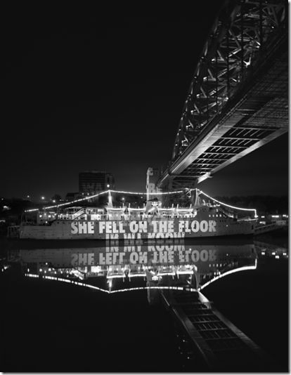 Jenny Holzer: Site: Tuxedo Princess, Gateshead, United Kingdom; October 27, 2000; Text: Lustmord - 1993-1995; Projection: Charles Paserelli; Photo: Attilio Maranzano