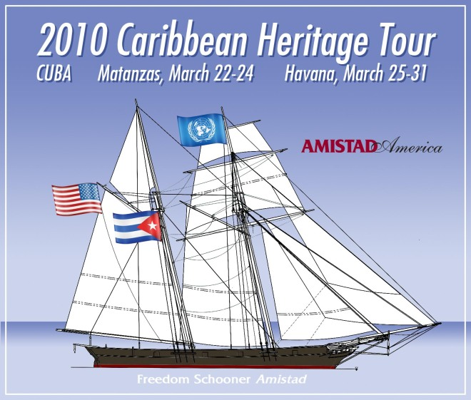 Amistad flying US, UN and Cuba flags